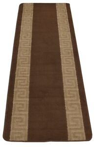 Custom-Size-Greek-Key-Meander-Brown-Runner-Rug-26-034-Width-Choice-of-Your-length