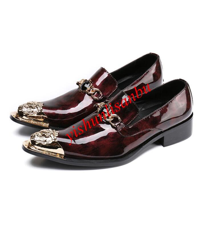 Steel toe Uomo pelle Scarpe pointy toe slip on british style fashion rhinestone