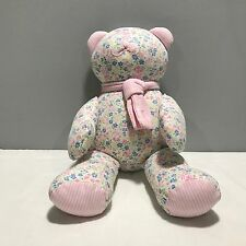 Ralph Lauren Polo Stuffed Flowered Fabric Cloth Teddy Bear 15'' Pink Scarf