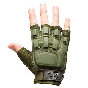 Valken-Paintball-Airsoft-Half-Finger-Gloves-Protection-Olive-Medium-Large-M-L