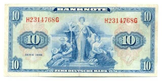 Germany Federal Republic U.S. Army Command 10 Deutsche Mark 1948 VF #238