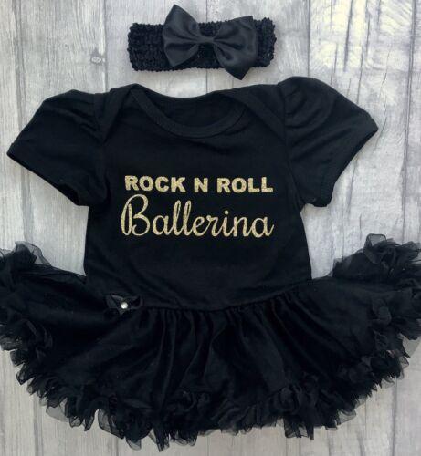 Gold Glitter Rock n Roll Ballerina BALLERINA DANCER TUTU ROMPER Newborn Gift
