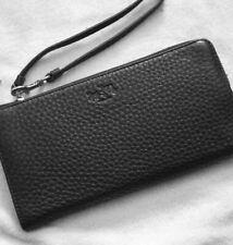 Coach Bleecker Black Pebbled Leather Zippy Wallet Wristlet Wrist Strap 51981