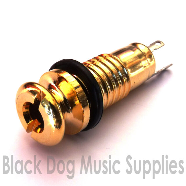 Acoustic guitar jack socket / strap pin in gold screw in 2 pole