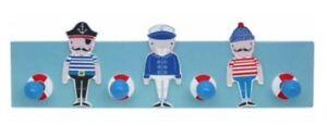 Gisela-Graham-Nautique-Bleu-Pirate-en-Bois-Peg-Rail-Salle-Enfants-garcons-Sailor