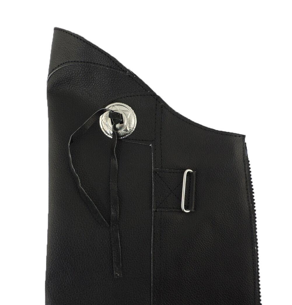 100/% Genuine Leather Half Chap Leggings Leg Guards w// Concho 2XL