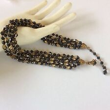 Vtg Signed Miriam Haskell Gold Tone Black Glass Faceted Necklace/Choker 5 strand