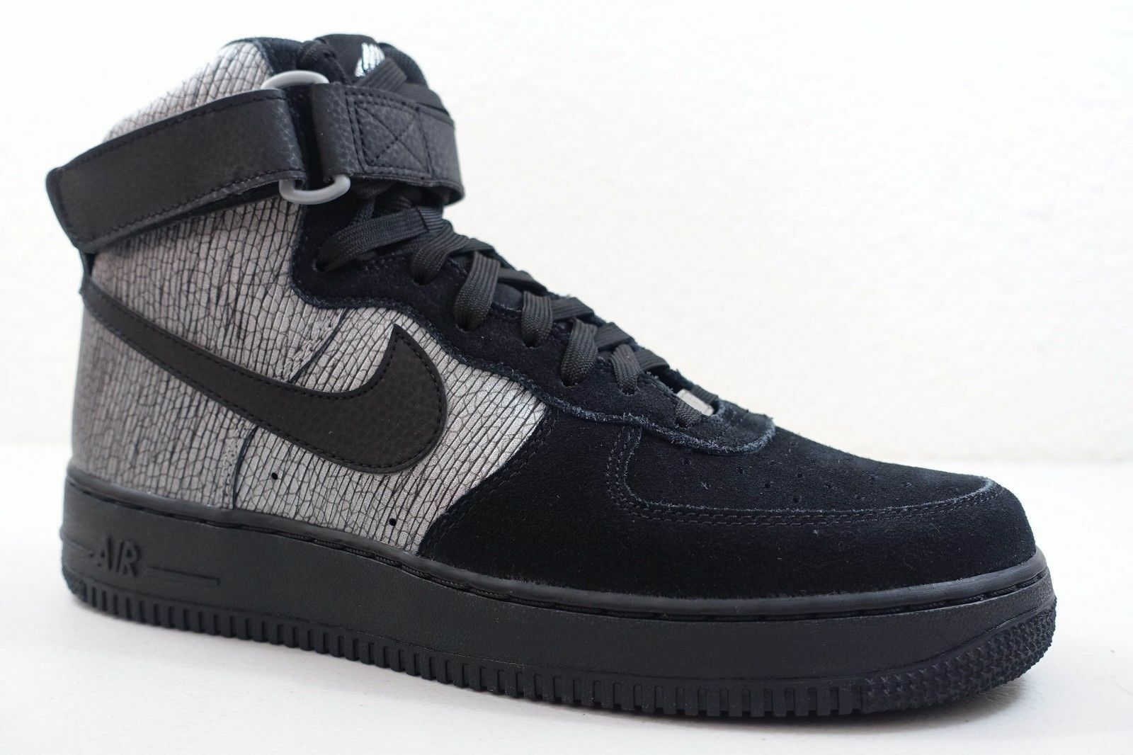 NIKE WOMEN'S AIR FORCE 1 HI PRM SHOES metallic silver black 654440 003