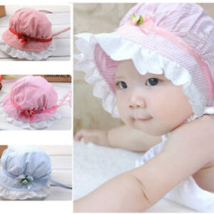 83b83283ec2 Kids Baby Girl Cap Summer Princess Hat Bow Lace Kids Beach Bucket ...