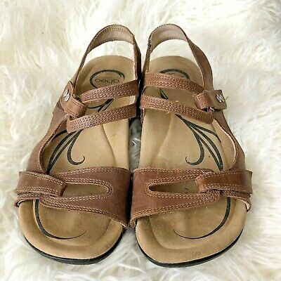 Abeo Womens Leather Sandals Shoes Crescent Sz 6 N Neutral Foot Bed Tan | eBay