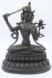 Manjushri-Buddha-Figura-Bronzo-37cm-Buddista-Statua-Nero-asienlifestyle