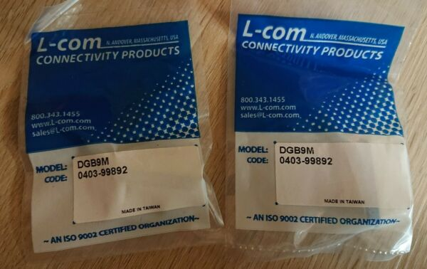 *new* 2 X L-com Db9 Male/male Gender Changer Dgb9m_sealed Package