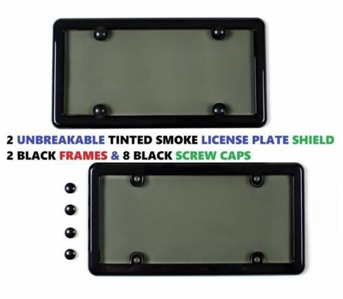 2 BLACK FRAMES 2 UNBREAKABLE TINTED SMOKE LICENSE PLATE SHIELD COVERS 8 CAPS