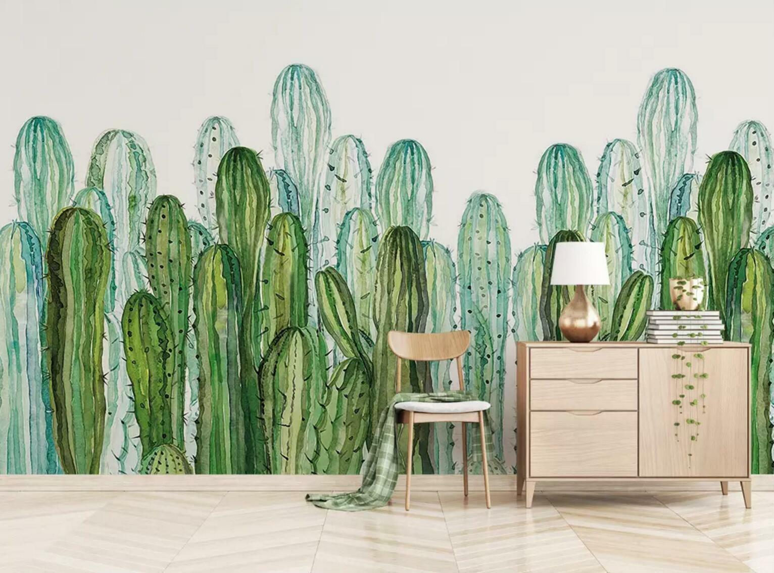 3D Green Cactus 7452 Wall Paper Exclusive MXY Wallpaper Mural Decal Indoor Wall