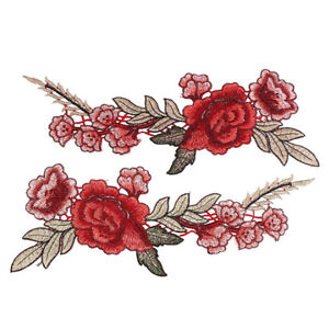 2x-Embroidery-Rose-Flower-Sew-On-Patch-Badge-Bag-Hat-Jean-Dress-Applique-Craft