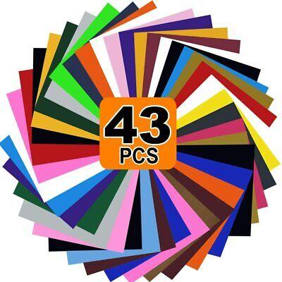 "47 PCS Heat Transfer Vinyl Iron On Sheet Bundle HTV 12/"" x 10/"" for T-Shirt Cricut"
