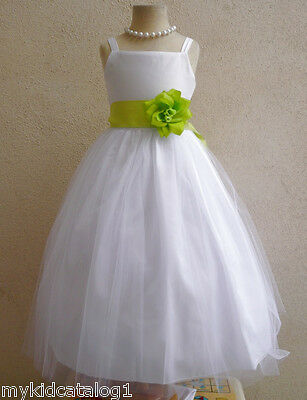 NWT WHITE/LIME GREEN PAGEANT RECITAL PROM WEDDING PARTY FLOWER GIRL DRESS