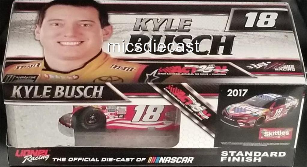 Nouveau 2017 Kyle Busch  18 JGR GIBBS RSF Drapeau Skittles platine 1 24 Action Diecast