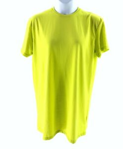 MISSGUIDED-NEON-LIME-GREEN-SHORT-SLEEVE-OVERSIZED-T-SHIRT-MINI-DRESS-UK-16-11366