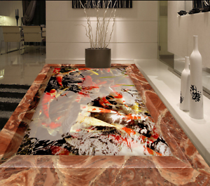 3D Peces de Estanque Papel de parojo de luz del día 7 del piso Impresión De Parojo Murales Wallpaper AJ Reino Unido Limón