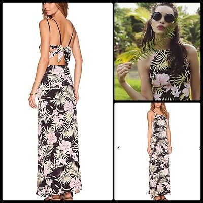 For Love Lemons L Palm Floral Open Tie Back Maxi Dress Nwt 261 00 Large Ebay