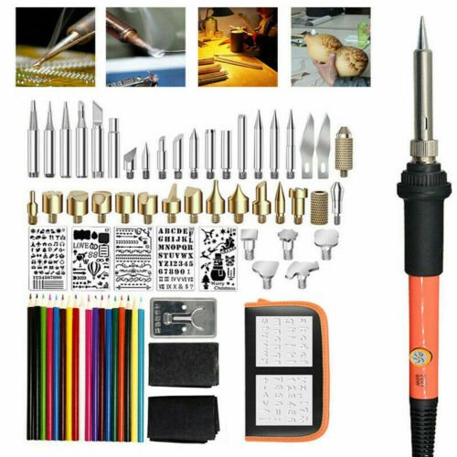 71pcs 110V Wood Burning Pen Set Stencil Soldering Tips Tool Pyrography Craft Kit