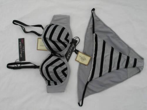 ed4064b73166 7 of 10 32A Black Velvet / Silver Grey Satin Bra & Size 8 Knickers Set La  Senza Bnwt