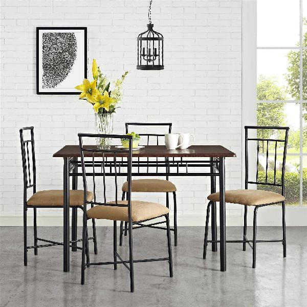 Small Industrial Dining Set Wood Metal 5 Pc Table Chairs Espresso Beige  Kitchen