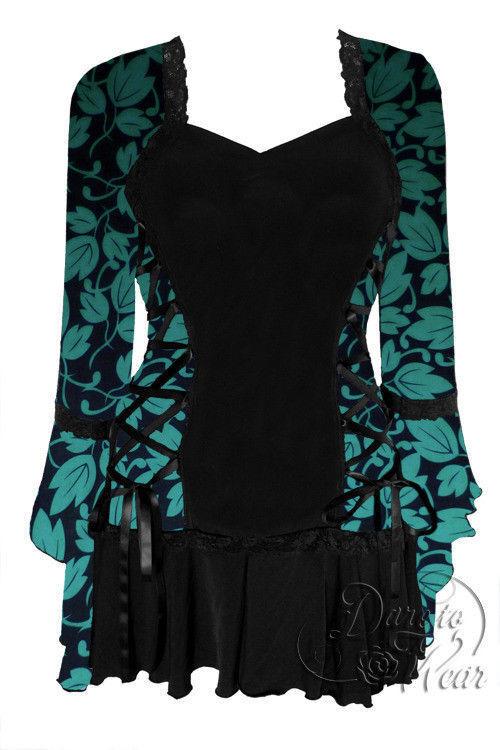Dare to Wear Victorian Gothic Plus Größe Bolero Corset Top in Ivy Grün