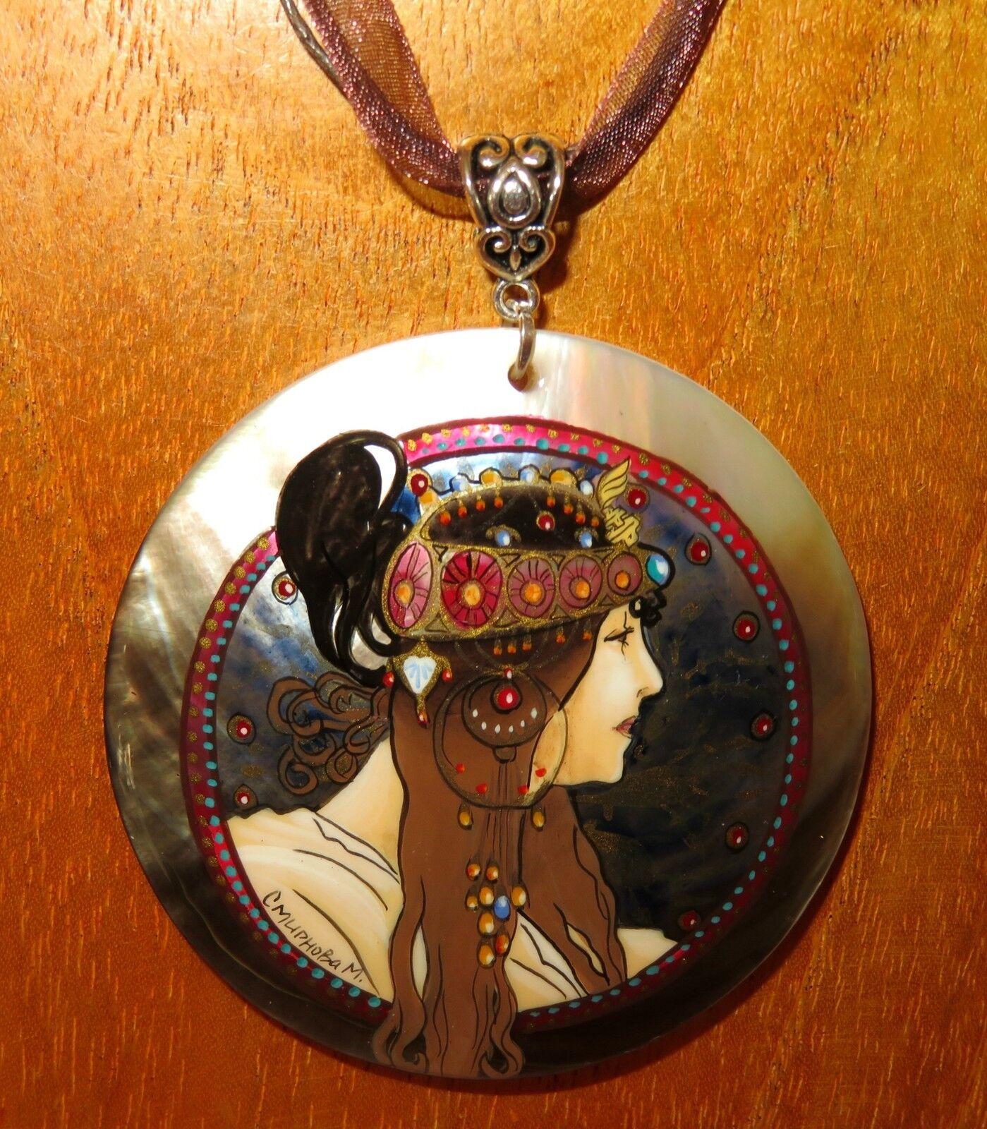 Muschel Anhänger Original handbemalt black Lippe Mucha Byzantiner