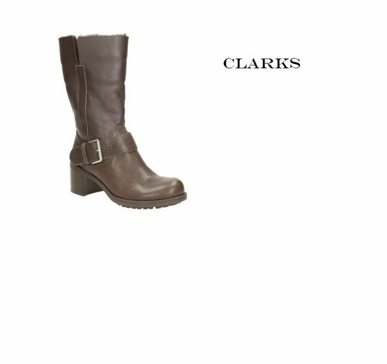 Nuevo Nuevo Nuevo Y en Caja Clarks pilico lugar Cuero Marrón Oscuro para Mujer botas Motorista UK 6.5  calidad de primera clase