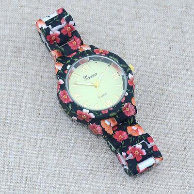 Color Flower Printed Watch Women Girl Dress Quartz Fashion Casual WristWatches