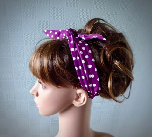 Purple polka dot hair scarf spotted headband self tie up cotton retro hair wrap