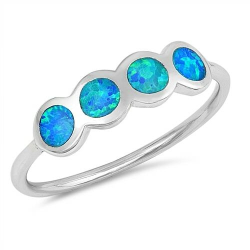 Cercles design ring sterling silver 925 design lab Opale Bleue Taille 4 5 6 7 8 9 10