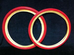 Rare-NOS-Pair-80s-RED-20-x-1-75-2-125-KENDA-SNAKEBELLY-TIRES-Old-School-BMX