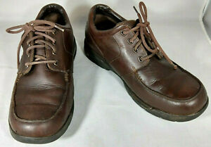 Dunham-Dryworx-Waterproof-Leather-Loafers-LaceUp-Rollbar-Sole-Brown-Size-11
