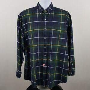 Ralph-Lauren-The-Big-Oxford-Blue-Green-Plaid-Men-039-s-L-S-Button-Shirt-Sz-Large-L