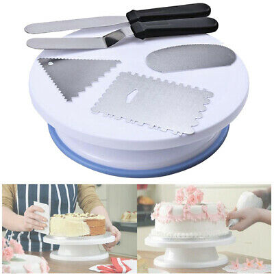 Dv Cake Turntable Rotating Stand Icing Bench Scraper Board Baking Supply Sweet Ebay