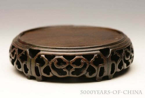 """2.81/"""" 4.54/"""" Nice Hollow-Carved Circular Display Ebony Wood Wooden Stand #BR25"""