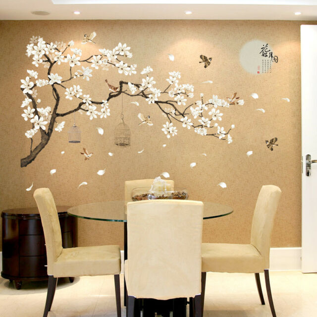 Blooming Flowers And Full Moon Wall Stickers Home Decor Living Room Bedroom Wall For Sale Online Ebay