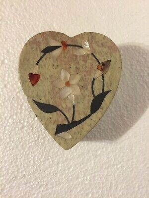 Heart Shaped Trinket Box with Lid Stone Marble Trinket Box with Mother of Pearl Inlay Flower