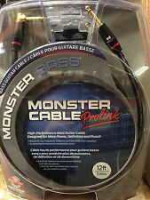 "Monster M-Bass2 12 Foot Angled 1/4"" Bass Instrument Cable Cord MBASS 12A"
