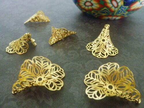 6 pce Metal Golden Filigree Calla Lily Flower Bead Caps 29mm x 24mm