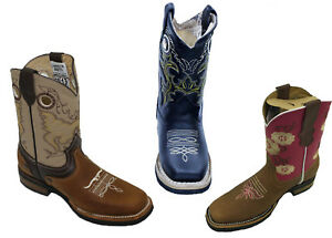 0f769075da6 Details about Kids Unisex Genuine Cowhide Leather Durable Tough Rodeo  Western Cowboy Boots