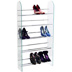 LUXOR-5-Tier-15-Pair-Shoe-Storage-Shelf-Rack-Glass-Chrome-MS5500-SHOE