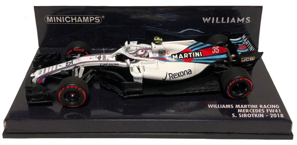 Minichamps Williams FW41  35 2018 Race Version-Sergey Sirougekin échelle 1 43