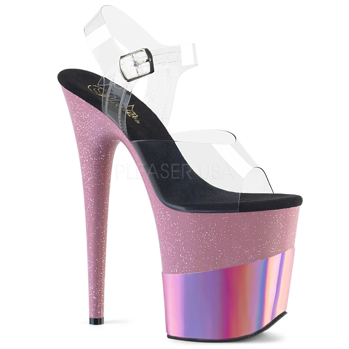 Pleaser flamingo - 808-2HGM Transparent Rose Bébé Paillettes Hologramme Chaussures Compensées
