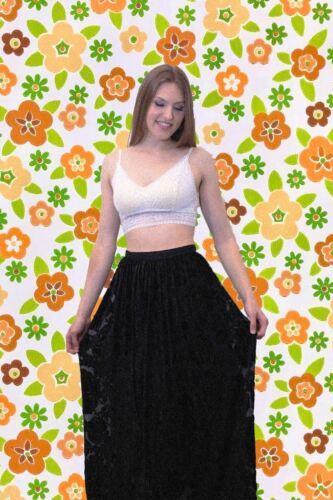 1970's Silk Velvet Burnout Maxi Skirt