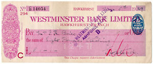 I-B-George-V-Revenue-Cheque-Duty-2d-Westminster-Bank-Hawkhurst