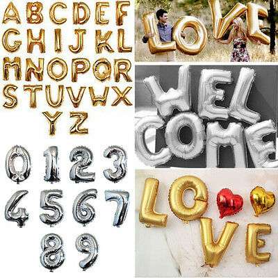 "1 PC 16""/40""Gold/Silver Foil Letter Number Balloons for Wedding Festival Decor"